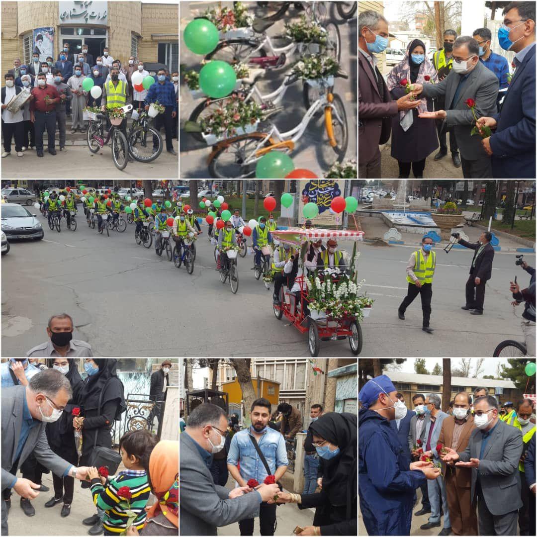 بزرگترین کاروان گل و دوچرخه ویژه استقبال از بهار در نیشابور جلوه های زیبایی از شادی ،نشاط ومهربانی را رقم زد